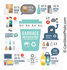 Infographic garbage annual report template design . concept vect