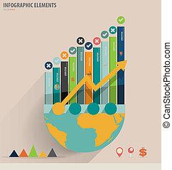 infographic, gebruiken, communie, handel concept, grafiek, moderne, -, illustratie, vector, ontwerp, groenteblik, mal, infographics