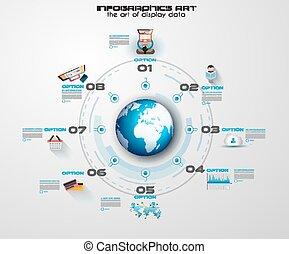 infographic, gemeinschaftsarbeit, und, brainstorming, mit,...