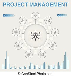 infographic, gerência, icons., ícones, projeto, workflow, ...