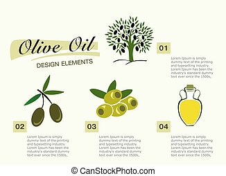 Infographic get olive oil. Pictures for four steps, the olive tr
