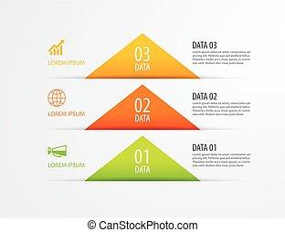 infographic, getal, papier, ontwerp, web, achtergrond., 3, mal, tijdsverloop, zijn, gebruikt, driehoek, zakelijk, workflow, presentations., opties, opmaak, data, diagram, element, vector, groenteblik, opties