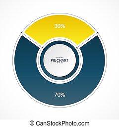 infographic, graphique circulaire, cercle, dans, ligne mince, plat, style., part, de, 30, et, 70, percent., vecteur, illustration
