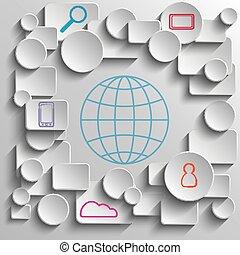 infographic, grijs, elements., achtergrond., proces, meetkunde, papier, ontwerp