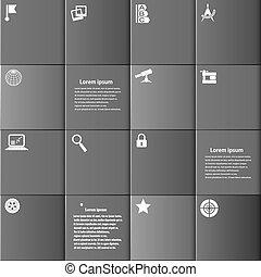infographic, gris, ensemble, boutons, carrée, fond