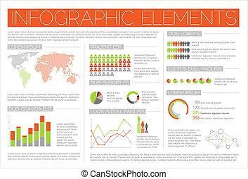 infographic, groot, vector, set, communie