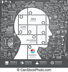 Infographic Head jigsaw with  doodles line drawing success strat