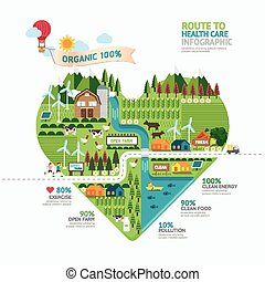 Infographic health care heart shape template design.route to...