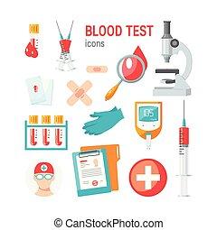 infographic, heiligenbilder, medizin, vektor, bluttest
