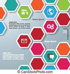 infographic, hexágonos, varios, coloreado