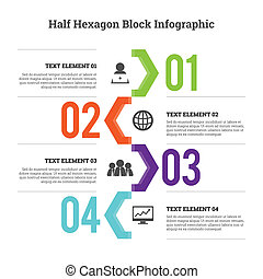 infographic, hex, bloco, metade