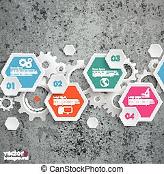 Infographic Hexagon Gears Line Concrete - Infographic design...