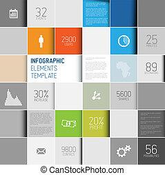 infographic, hintergrund, abstrakt, abbildung, vektor, /, schablone, quadrate