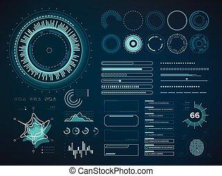 infographic, hud., futuriste, vecteur, interface utilisateur, éléments