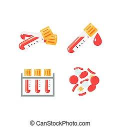 infographic, iconen, medisch, vector, bloedonderzoek