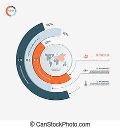 infographic, illustration., business, options., concept., 3, vecteur, gabarit, cercle