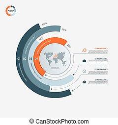 infographic, illustration., business, options., concept., vecteur, 4, gabarit, cercle