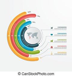infographic, illustration., business, options., concept., vecteur, 5, gabarit, cercle