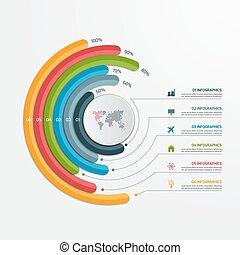 infographic, illustration., business, options., concept., vecteur, gabarit, 6, cercle