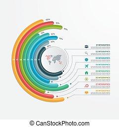 infographic, illustration., business, options., concept., vecteur, gabarit, 8, cercle