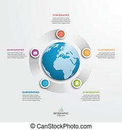 infographic, illustration., business, options., globe, vecteur, 5, gabarit, cercle, concept.