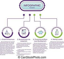 infographic, illustration., business, options., vecteur, 4, gabarit, présentation