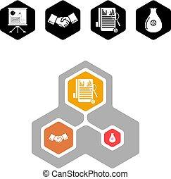 infographic, illustration., business, options., vecteur, gabarit, présentation
