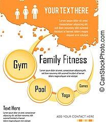 infographic, illustration., família, vetorial, condicão física, desenho