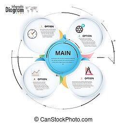 infographic, illustration., presentation., 図, ベクトル, 円