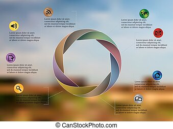 Infographic illustration template with circle divided to eight parts