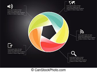 Infographic illustration vector template with shape of divided circle