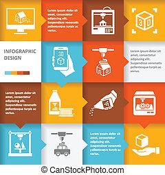 infographic, impressora, 3d