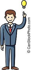 infographic, indicare, affari, carattere, idea, su, vettore, dito, uomo, detenere, element., lightbulb.