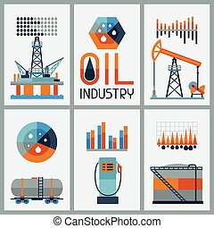 infographic, industrial, gasolina, icons., aceite, diseño