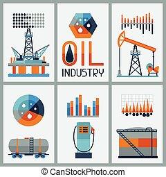 infographic, industriebedrijven, benzine, icons., olie, ontwerp