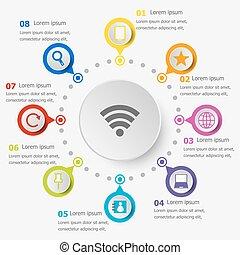 infographic, internet, sagoma, icone