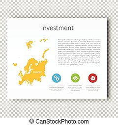Infographic Investment slide of Europe Map Presentation Template, Business Layout design, Modern Style