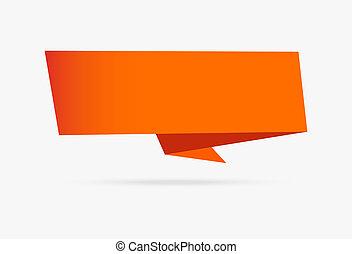 infographic, isolé, collection, papier, fond, orange, origami, blanc, bannière, ruban