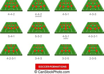infographic, isolé, collection, vecteur, formations, gabarit, football, white.
