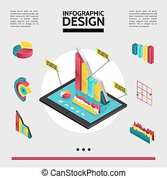 infographic, isométrique, concept, éléments