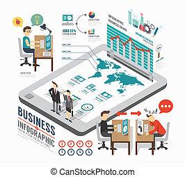 infographic, isométrique, concept, illustration affaires, vecteur, conception, gabarit