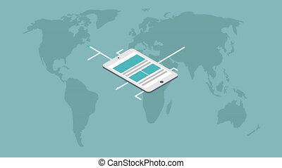 infographic, isométrique, concept, moderne, smartphone