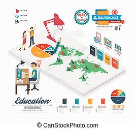 infographic, isometric, concept, illustratie, vector, ontwerp, mal, opleiding