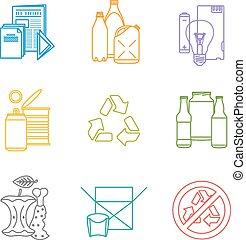 infographic, jogo, colorido, lixo, separado, ícones,...
