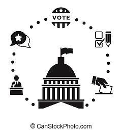 infographic, jogo, eleição, ícone