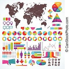 infographic, jogo, elementos