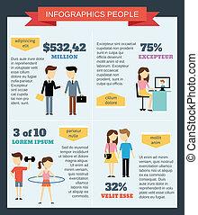 infographic, jogo, pessoas