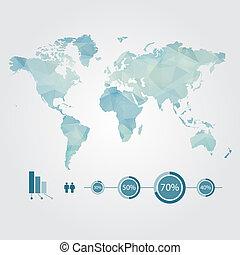 infographic, kaart, concept, moderne, wereld