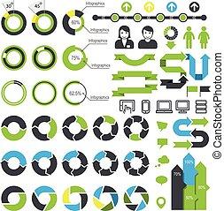 infographic, komplet, elementy