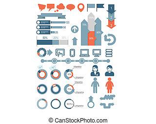 infographic, komplet, ico, elementy